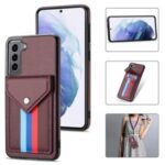 Card Slot Design Tri-color TPU + PU Leather Hybrid Phone Case with Lanyard for Samsung Galaxy S21+ 5G – Brown