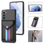 TPU + PU Leather Hybrid Case Tri-color Card Slot Cover with Lanyard for Samsung Galaxy S21 5G – Black