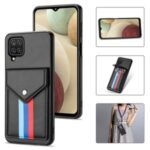 Card Slots Tri-color TPU + PU Leather Hybrid Phone Case Cover for Samsung Galaxy A12 – Black