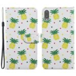 Pattern Printing Wallet Design Leather Phone Case Stand Cover for Samsung Galaxy A02 (EU Version)/M02 – Pineapple