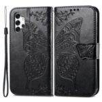 Big Butterfly Imprinting Wallet Design Leather Phone Stand Shell for Samsung Galaxy A32 4G (EU Version) – Black