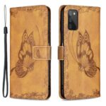 Imprint Butterfly Flower Leather Wallet Mobile Phone Shell for Samsung Galaxy A03s – Brown