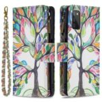 Soft PU Leather Pattern Printing Zipper Flip Folio Wallet with Wrist Strap Stand Protective Case for Samsung Galaxy A03s – Colorful Tree