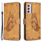 Imprint Butterfly Flower Wallet Leather Cell Phone Shell with Stand for Samsung Galaxy A82 5G – Brown