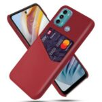 KSQ Cloth + Leather + PC Combo Well-Protected Hybrid Phone Case with Card Slot Design for Motorola Moto G60 – Red