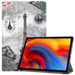 Tri-fold Stand Pattern Printing PU Leather Smart Tablet Cover Case for Lenovo Pad Plus – Eiffel Tower and Map