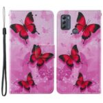 Cross Texture Pattern Printing Wallet Stand Leather Phone Case Cover for Motorola Moto G50 – Red Butterfly