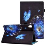 Pattern Printing Stand Cover Card Slots Protective Case with Elastic Band for Lenovo Tab M10 HD Gen 2 – Butterfly and Flower