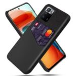 KSQ Cloth Texture Hybrid Phone Case with Card Slot Design for Xiaomi Redmi Note 10 Pro (China) – Black