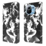 Fog Pattern Printing Wallet Stand Phone Case Leather Cover for Xiaomi Mi 11 – Black