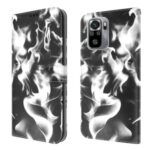 Fog Pattern Printing Leather Wallet Design Stand Phone Cover for Xiaomi Redmi Note 10 4G / Redmi Note 10S – Black