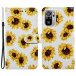 Pattern Printing Leather Phone Case Wallet Stand Design Cover for Xiaomi Redmi Note 10 4G/Note 10S – Sunflower