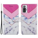 Pattern Printing Wallet Stand Design Leather Phone Case Cover for Xiaomi Redmi Note 10 Pro/Note 10 Pro Max – Smoke Marble