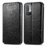 Imprinted Mandala Flower Pattern Auto-absorbed PU Leather Shell Stand Design Wallet for Xiaomi Poco M3 Pro 4G/Poco M3 Pro 5G/Redmi Note 10 5G – Black