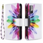 Stand Feature Pattern Printing Zipper Wallet Bookstyle Magnetic Flip Case Cover with Wrist Strap for Xiaomi Redmi Note 10 5G / Poco M3 Pro 5G / 4G – Sunflower