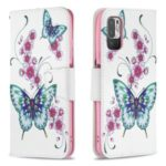 3D Full Stylish Advanced Printing Pattern Stand Magnetic Clasp Wallet Case for Xiaomi Redmi Note 10 5G / Poco M3 Pro 5G / 4G – Green Butterfly