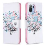 Pattern Printing Full Protection Leather Wallet Stand Phone Case for Xiaomi Mi 11 Lite 4G / 5G – Flowered Tree