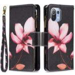 BF03 Zipper Wallet Design Leather Stand Phone Case with Pattern Printing for Xiaomi Mi 11 Lite 4G / 5G – Lotus