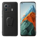 Shockproof Hybrid Slim Full Body Protective TPU + PU Leather Case with Ring Holder for Xiaomi Mi 11 Pro – Carbon Fiber Texture