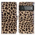 Leopard Skin Leather Drop-proof Phone Protector Wallet Design Mobile Phone Cover for Google Pixel 6 Pro