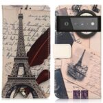 Full Protection Pattern Printing Design Wallet PU Leather Protector Phone Stand Cover for Google Pixel 6 Pro – Eiffel Tower and Feather