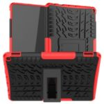 Cool Tyre Surface Anti-slip PC + TPU Hybrid Protection Cover Kickstand Case for Amazon Fire HD 10 (2021) – Red