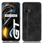 Stitching Line Design PU Leather Coated PC+TPU Phone Case for OPPO Realme GT 5G / Realme GT Neo / Realme Q3 Pro 5G – Black