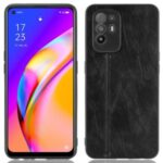 Stitching Line Design PU Leather Coated PC+TPU Phone Case for OPPO Reno5 Z / F19 Pro+ 5G / F19 Pro Plus 5G / A94 5G / A95 5G – Black