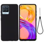 Solid Color Liquid Silicone Soft Phone Case Protective Shell with Strap for Realme 8 / 8 Pro – Black