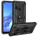 Anti-drop PC + TPU Combo Hybrid Phone Shell with Ring Kickstand for Oppo A53 / Oppo A53s / A32 4G – Black