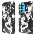 Full Protection Fog Pattern Printing Leather Wallet Design Stand Phone Cover for Oppo Reno5 5G / Reno5 4G / Reno5 K / Find X3 Lite -Black