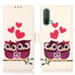Pattern Printing Magnetic Clasp PU Leather Phone Wallet Stand Cover Shell Case for OnePlus Nord CE 5G – Owls and Hearts