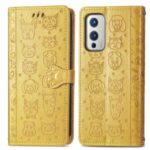 Shockproof Imprinting Cat Dog Pattern Design PU Leather Flip Magnetic Closure Wallet Case for OnePlus 9 (EU / US Version) – Yellow