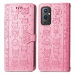 Imprinting Cat Dog Pattern Full Body Protective Case with Stand Flip Folio Cover for OnePlus 9 Pro – Pink