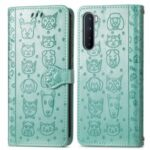 Imprinting Cat Dog Pattern Full Body Protection Shockproof Leather Wallet Flip Case for OnePlus Nord – Green