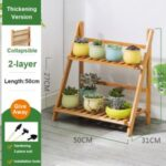 Potted Plant Stand Bamboo Rack Flower Pot Holder Planter Display Shelf – 2-Layer/50cm Length
