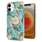For Phone 12 mini 5.4 inch 2.0mm IMD IML Electroplating Marble Phone Case Shell with Flower Pattern – Green Marble/Flower