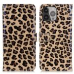 Leopard Pattern PU Leather Stand Wallet Design Full Protection Phone Case Cover for iPhone 13 Pro Max 6.7 inch