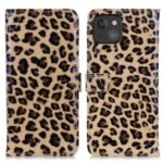 Leopard Pattern Leather Wallet Design Phone Stand Case Protective Cover for iPhone 13 mini 5.4 inch