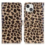 Full Protection Leopard Pattern PU Leather Stand Wallet Phone Case Shell for iPhone 13 6.1 inch