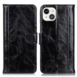 Shockproof Crazy Horse Texture Split Leather Flip Stand Wallet Case Cover for iPhone 13 6.1 inch – Black
