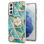 Soft TPU 2.0mm IMD IML Electroplating Marble Phone Case with Flower Pattern for Samsung Galaxy S21+ 5G – Green Marble/Flower