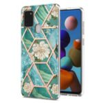2.0mm IMD IML Electroplating Marble Flower Phone TPU Case for Samsung Galaxy A21s – Green Marble/Flower