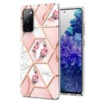 2.0mm IMD IML Flower Pattern Shell Electroplating Marble Phone Case for Samsung Galaxy S20 Lite / S20 Fan Edition / FE 4G / 5G – Pink Marble/Flower