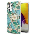 Electroplating Marble Shell 2.0mm IMD IML Flower Pattern Phone Case for Samsung Galaxy A72 4G/5G – Green Marble/Flower