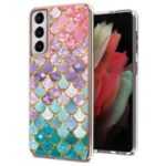 A Series Straight Side Electroplating IMD Anti-Drop TPU Protective Cover for Samsung Galaxy S21 5G – Colorful Scales