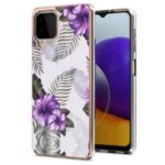 A Series Ultra Thin Anti-Scratch Soft TPU Bumper Protective Electroplating Back Phone Cover for Samsung Galaxy A22 4G (EU Version) – Purple Flower