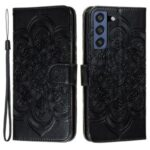 Imprint Henna Mandala Flower Pattern Lanyard Protective Soft PU Leather Cover Case for Samsung Galaxy S21 FE – Black