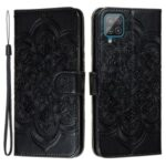 Elegant Floral Henna Mandala Flower Pattern Stand Feature Protective PU Leather Case for Samsung Galaxy A22 4G (EU Version) – Black