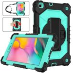 PC + TPU + Silicone Contrast Color Tablet Case Cover with Hand Strap Kickstand Design for Samsung Galaxy Tab A 8.0 Wi-Fi (2019) SM-T290 – Black/Aqua